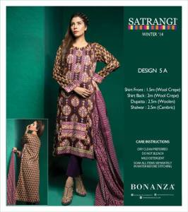 Satrangi Bonanza Winter Shawl Dresses 2014-15