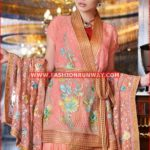 PEACH PREMIUM EMBROIDERED CHIFFON PM-154