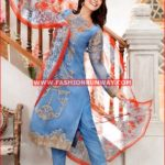 BLUE EMBROIDERED CHIFFON C-404
