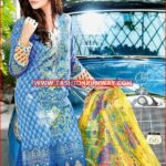 BLUE EMBROIDERED CHIFFON C-389