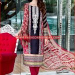 RED EMBROIDERED CHIFFON C-365