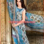 AQUA EMBROIDERED CHIFFON C-413