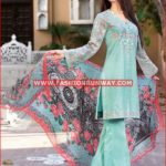 TURQUOISE EMBROIDERED CHIFFON C-472