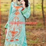 TURQUOISE EMBROIDERED CHIFFON C-449