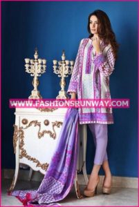 Gul Ahmed Midsummer 2016 PURPLE EMBROIDERED CAMBRIC CBE-21 A
