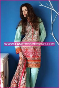 Gul Ahmed Midsummer 2016 LIGHT GREEN EMBROIDERED CAMBRIC CBE-24 A