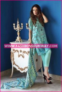 Gul Ahmed Midsummer 2016 AQUA EMBROIDERED CAMBRIC CBE-25 A