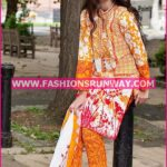Gul Ahmed Midsummer 2016 ORANGE PRINTED CAMBRIC CBN-02 A