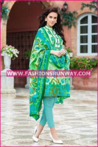Gul Ahmed Midsummer 2016 GREEN PRINTED CAMBRIC CBN-10 B