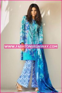 Gul Ahmed Midsummer 2016 BLUE PRINTED CAMBRIC CBN-11 A