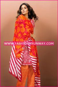 Gul Ahmed Midsummer 2016 RED PRINTED CAMBRIC CBN-12 B